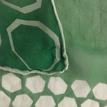 "Green And White  Silk blend Chiffon Print Vintage Scarf 30""/30"" - My Designer Vintage Closet"