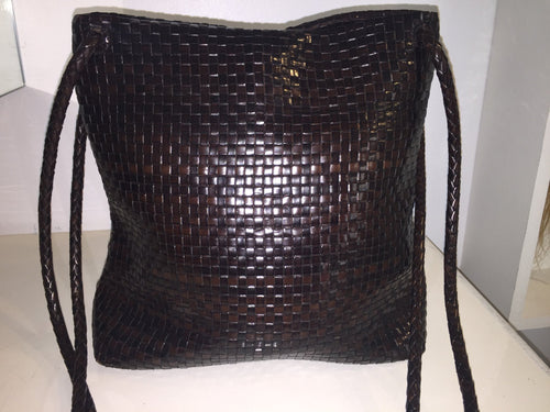 Desmo Woven Chocolate Leather Handbag Made In Italy - City Girl Barn Treasures
