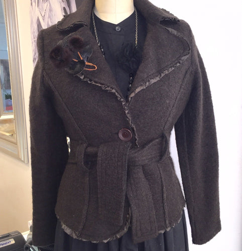 Fitted Wool Jacket With Ribbon Detail Made In Italy  Sz M - My Designer Vintage Closet