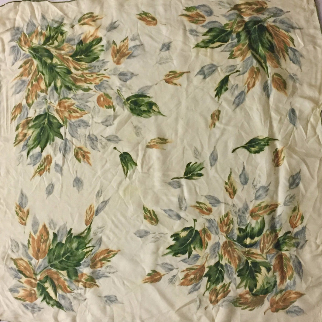 Large Hand Rolled Silk Green And Brown Floral Print Vintage Scarf 30