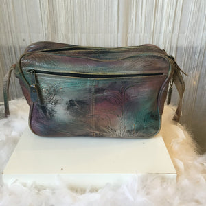 1970's  Hand Painted Leather Cross Body Bag - City Girl Barn Treasures