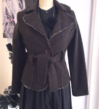 Fitted Wool Jacket With Ribbon Detail Made In Italy  Sz M - City Girl Barn Treasures