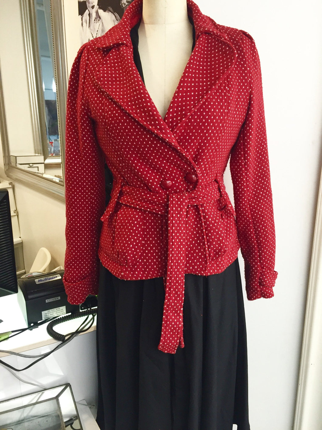 Red Poka Dot Fitted Blazer  Sz M - City Girl Barn Treasures