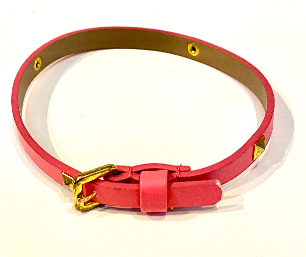 Bright Pink  Vegan Leather Dog Collar With Gold Stud Detail Sz Small - City Girl Barn Treasures