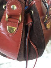 Rare Round Boho Leather And Suede Satchel Bucket Hand Bag - City Girl Barn Treasures