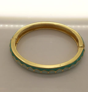 "Clic Clac Inspired Turquois Enamel Bangle 3/8"" wide - My Designer Vintage Closet"