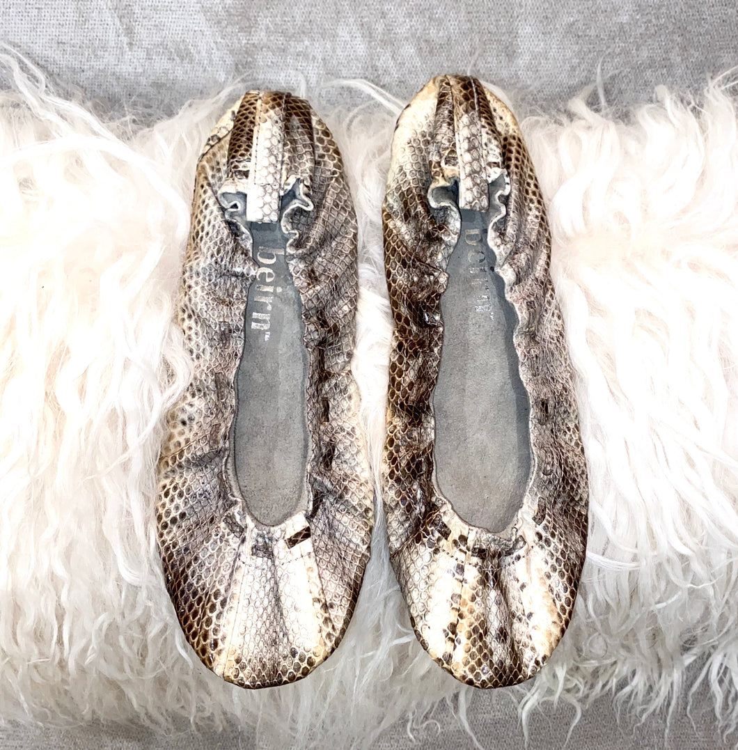 Sand Beirn Snake Skin  Ballerina Flats  Sz 9 Made in Indonesia - City Girl Barn Treasures