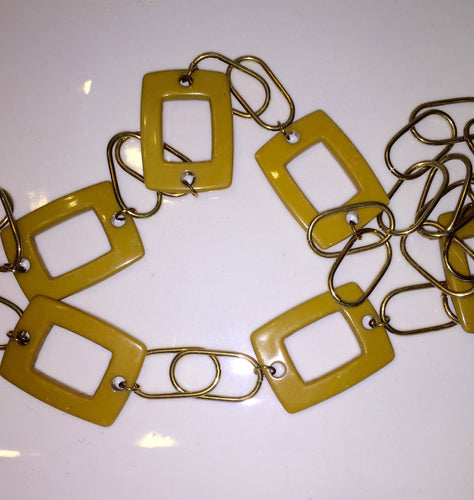 Gold Color Metal And Mustard Color Plastic Link Necklace - My Designer Vintage Closet