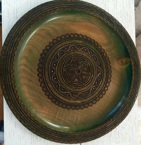 Wooden Plate with Brass Inlay
