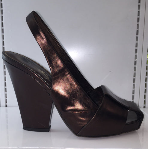 Yves Saint Laurant Bronze Square toe Sling Back Wedge Sz 7 Made in Italy $60 - City Girl Barn Treasures