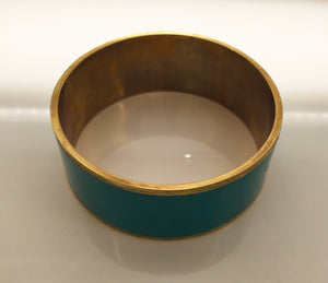 "Turquois Enamel Bangle 1"" wide - My Designer Vintage Closet"