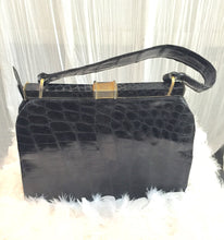Black Exotic Leather  1930's Frame Bag straight From Paris - City Girl Barn Treasures