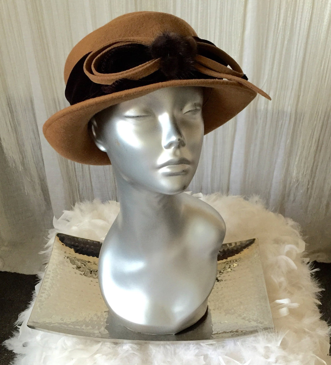 Galliano Sorbatti Made In Italy Bucket Hat With Fur Detail - City Girl Barn Treasures