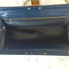 Navy Blue Leather 1940's Frame Bag With Chain Strap - City Girl Barn Treasures