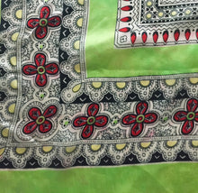 "Lime Green And Floral Print Vintage Scarf 26.5""/26.5"" - City Girl Barn Treasures"