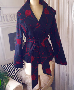 Rare Samuel Dong Black and Red Shawl Collar Jacket - My Designer Vintage Closet