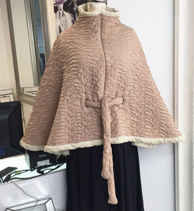 Echo Fun Fur Lined Poncho Sz M - City Girl Barn Treasures