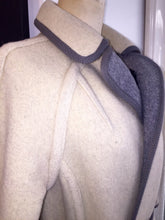 Knee Length Grey And Cream Reversible Wool Wrap Knee Length Coat Sz S - City Girl Barn Treasures