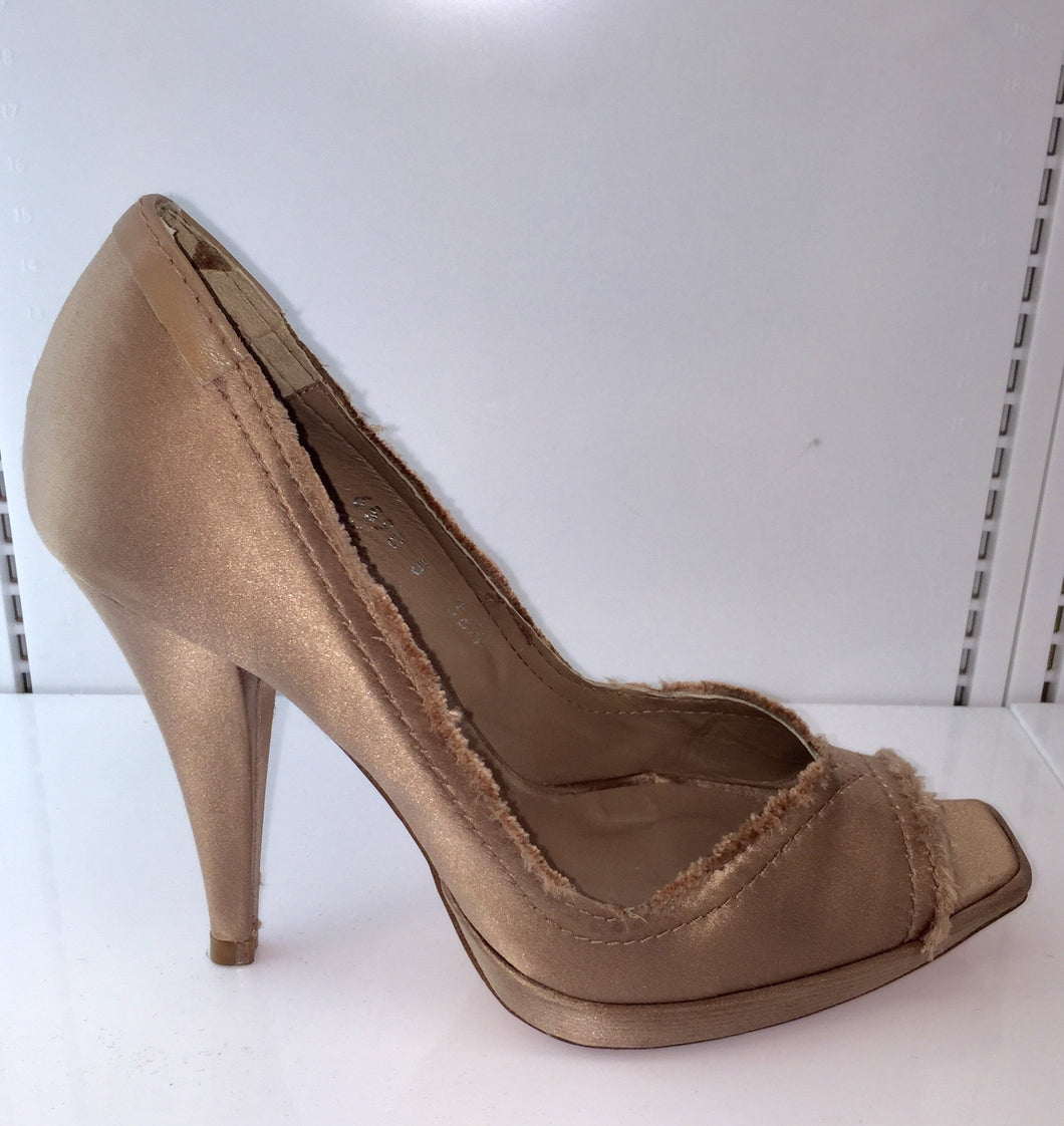 Pedro Garcia Square Toe Satin Peep Toe Stiletto Made in Spain Sz 6.5 - City Girl Barn Treasures