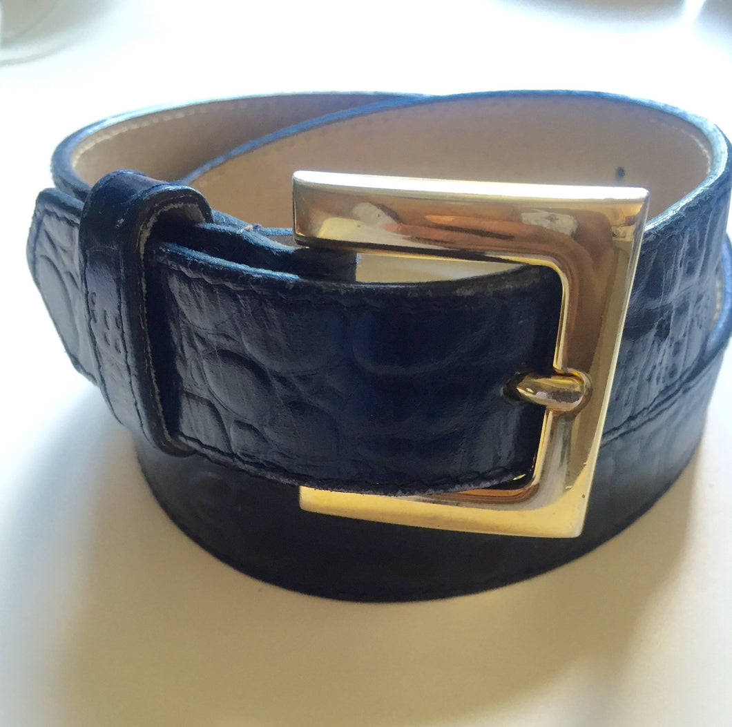 Navy Blue Special Lizard Skin Emmanuel Belt Sz Small Made In Spain - City Girl Barn Treasures