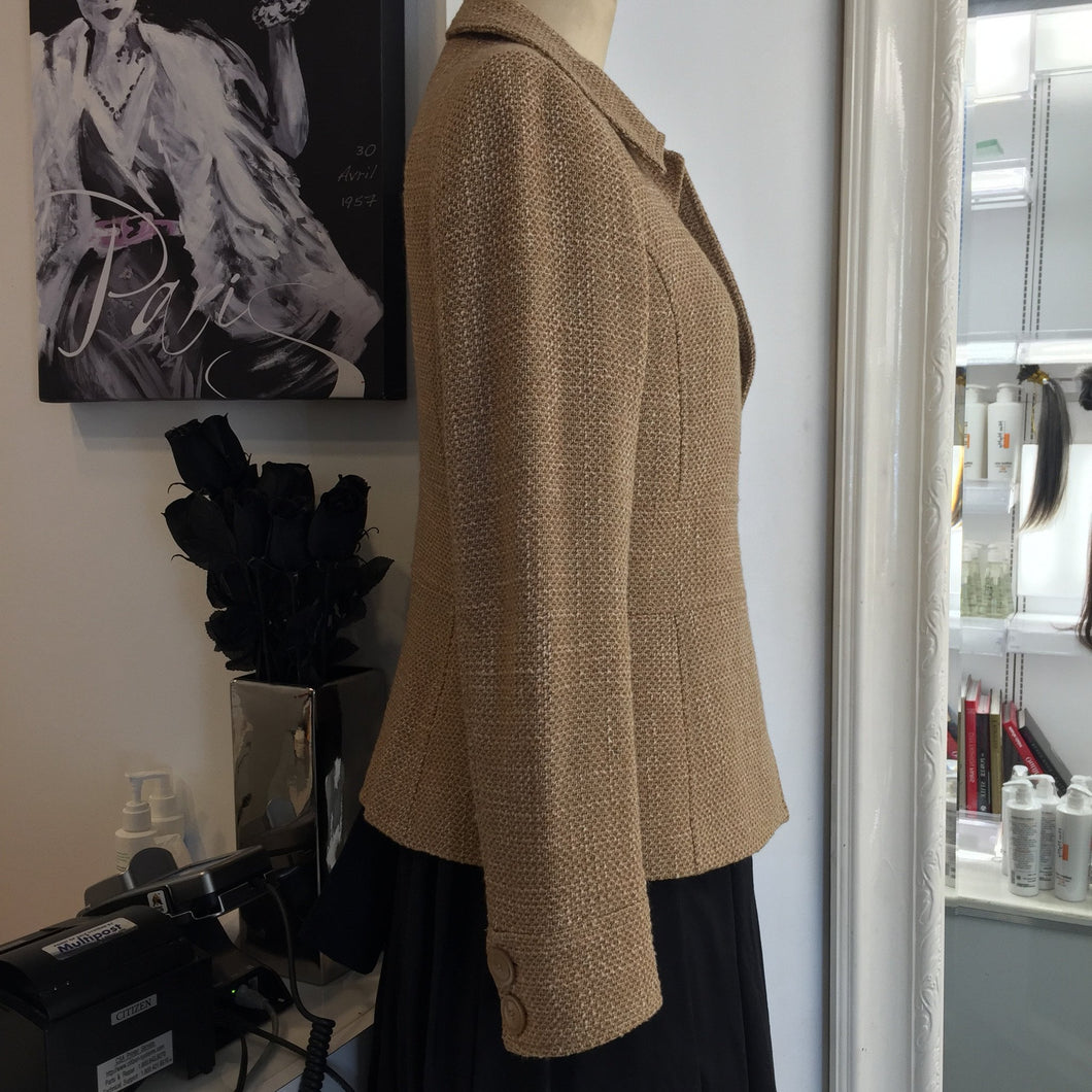 Zara Camel Color Tweed Blazer  Sz8 - City Girl Barn Treasures
