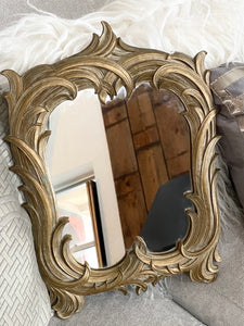 1930's Vintage Art Deco Syroco Gold Tone Wood Mirror - City Girl Barn Treasures