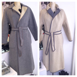 Knee Length Reversable Wool Wrap Coat Sz S - My Designer Vintage Closet