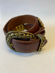 Medium Brown Fossil Belt With Gold Color Buckle And Embellishments Sz Small - City Girl Barn Treasures