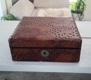 Carved Lacquered Box with Floral design - City Girl Barn Treasures