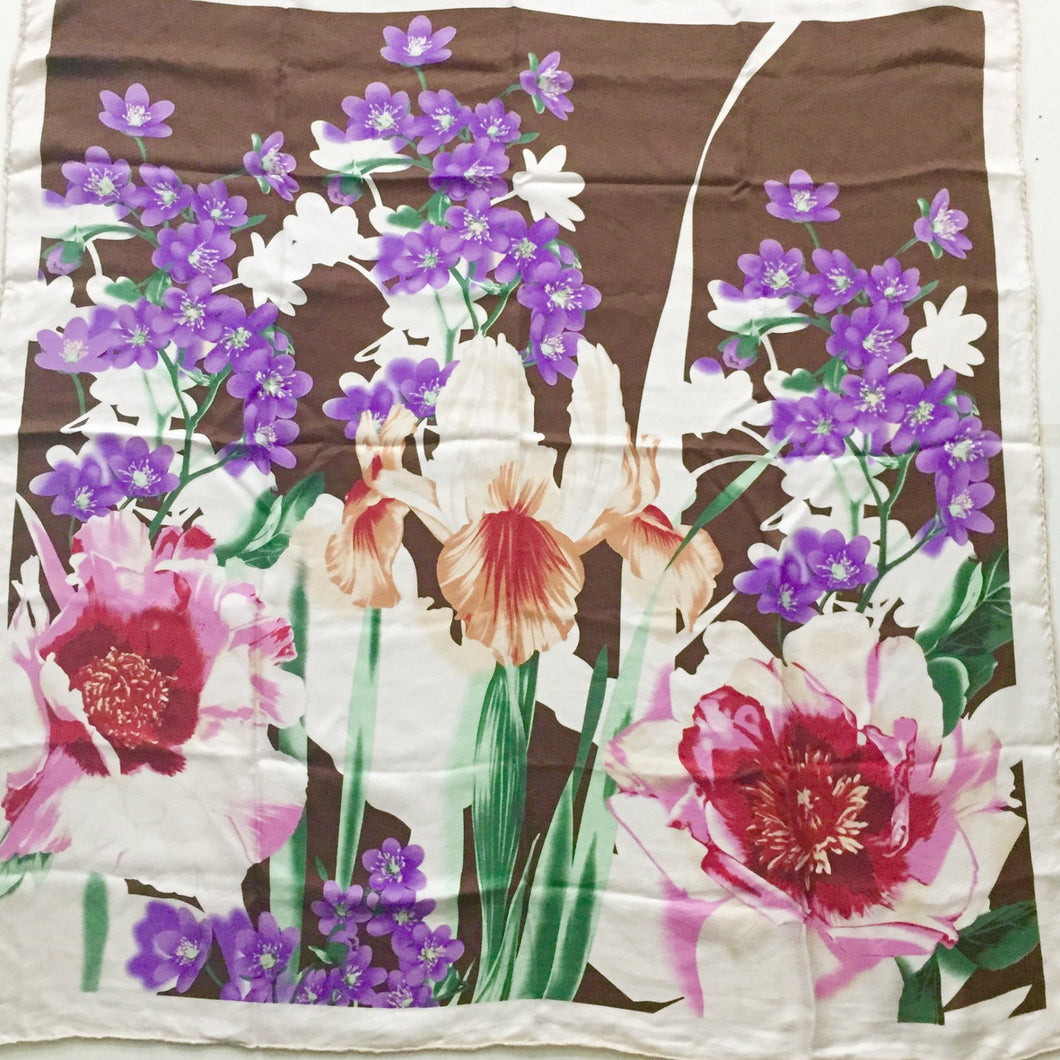 Extra Large Hand Rolled Silk Floral Print Vintage Scarf 30