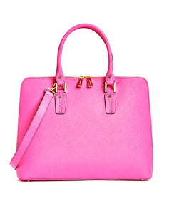 Bubblegum Pink Saffiano Leather Danier Laptop Briefcase - City Girl Barn Treasures
