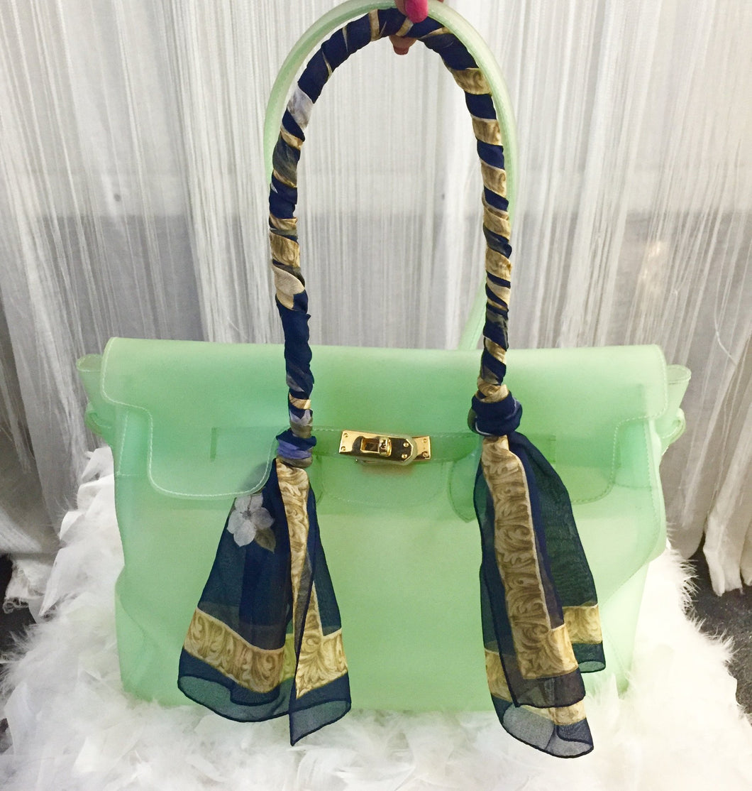 Green Vinyle Birkin Inspired Maxima Milano Handbag Made in Italy - City Girl Barn Treasures