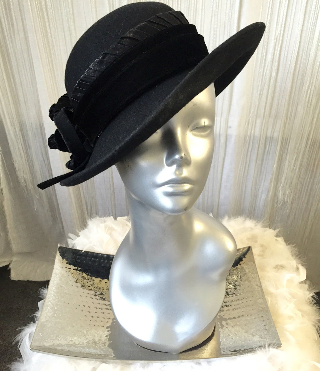 Galliano Sorbatti Made In Italy Black Bucket Hat With Fur Detail - My Designer Vintage Closet