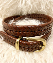 Coach Brown Double Braided Leather Belt Sz Medium - City Girl Barn Treasures