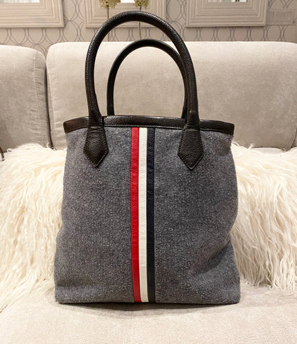 Black Fleece Felt And Leather Grey Tote - City Girl Barn Treasures