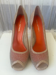 Via Spiga Nude Square Toe Sparkle Peep Toe Stiletto  Sz 8 - City Girl Barn Treasures