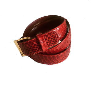 Christian Dior Signed Snakeskin Belt Sz a Medium Red