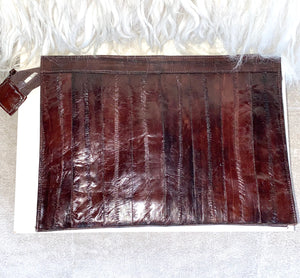 1970's Chocolate Brown Eel Skin Clutch Bag - City Girl Barn Treasures