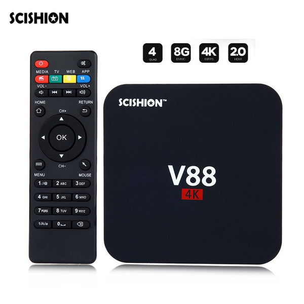 TV бокс Scishion V88, Android 7.1, 1GB RAM, 8GB ROM