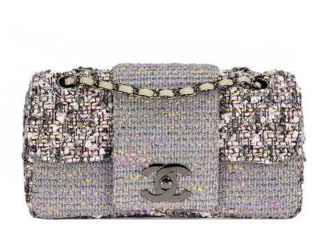 Chanel Tweed Grey Classic Flap Nicky Hilton