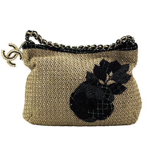 Chanel Woven Organic Tweed Camelia Rope Tote
