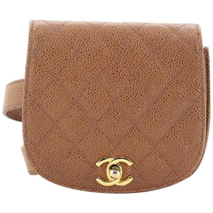 Chanel Vintage Beige CC Flap Waist Bag Quilted Caviar Small Bag