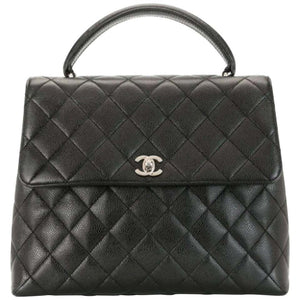 Chanel vintage top handle diamond quilted tote bag