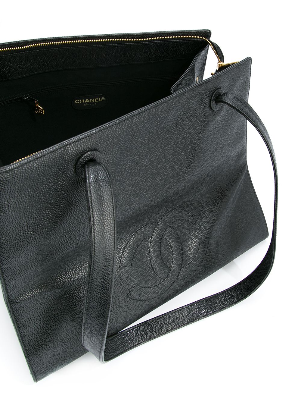 Chanel Vintage Black Caviar Large Work Business CC Tote