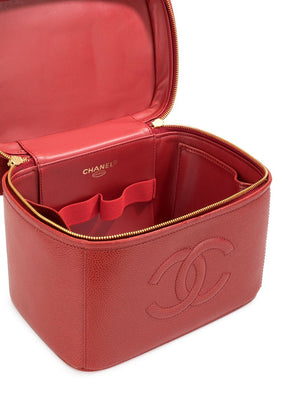 Chanel Red Vintage 90's CC Vanity Case Crossbody Bag