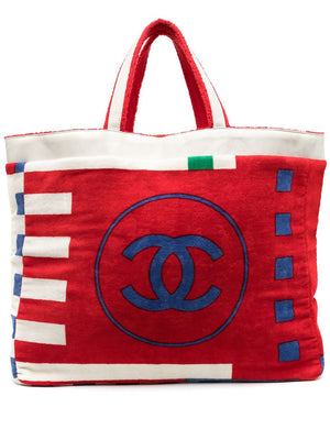 Chanel Vintage Jumbo CC Multicolor Building Block Beach Tote