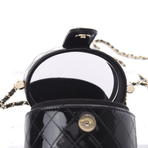 Chanel Micro Mini Black Quilted Patent Leather Jewelry Box Crossbody Bag
