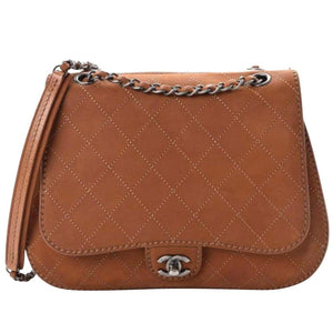 Chanel New Classic Flap Large Jumbo Quilted Saddle Brown Nubuck Leather Bag