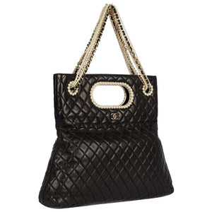 Chanel Timeless Rare Pearl Black Lambskin Shoulder Bag Tote & Minaudière Clutch