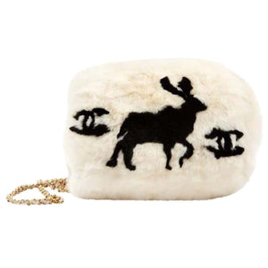 Chanel Cc Logo Reindeer Muff Vintage Rare Limited Edition White Fur Tote